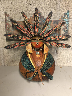 Tablita Maiden With Cloth Feathers-Gourd-Robert Rivera-Sorrel Sky Gallery