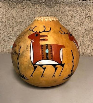 Deer Gourd Bowl-Sculpture-Robert Rivera-Sorrel Sky Gallery