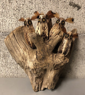 Five Owls On Driftwood Wall Piece-Sculpture-Robert Rivera-Sorrel Sky Gallery