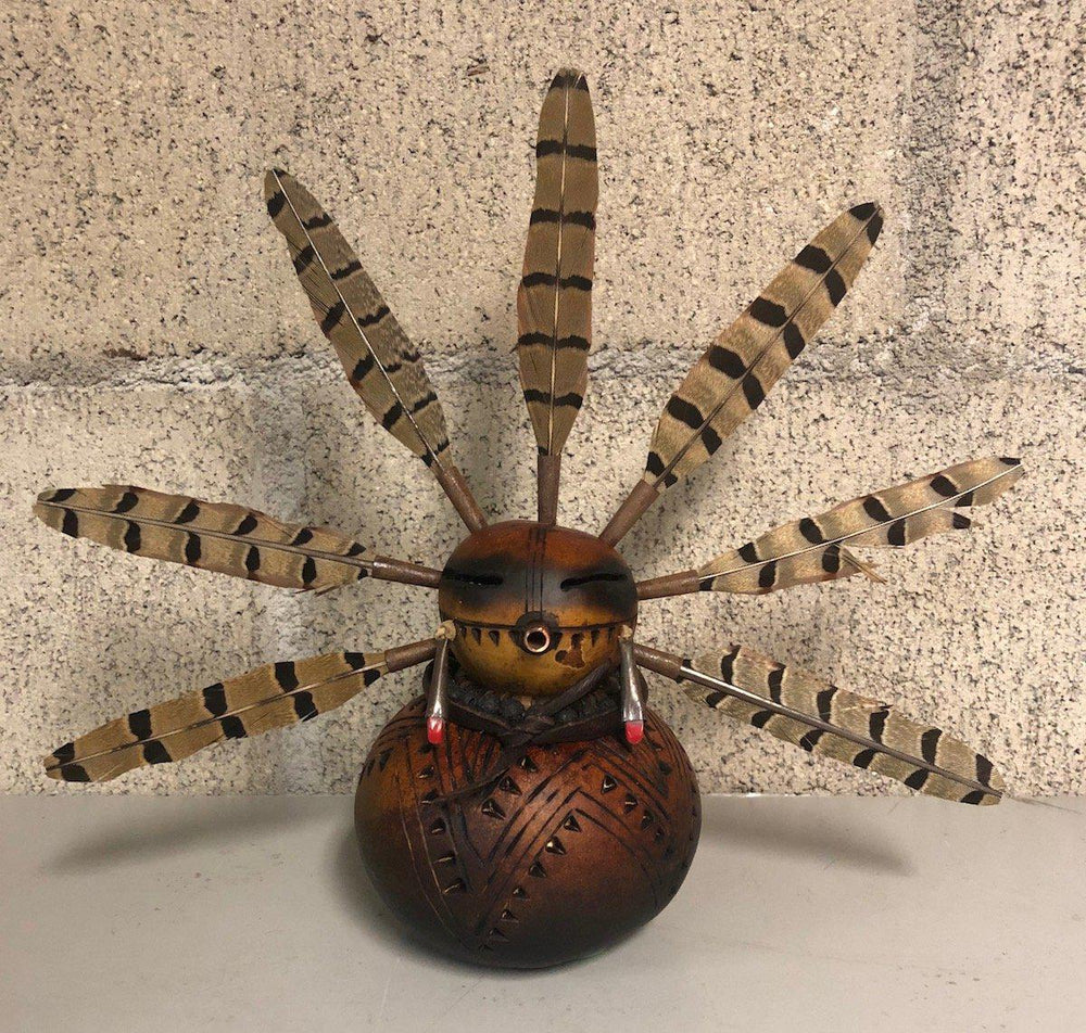 Gourd Kachina With Feathers-Sculpture-Robert Rivera-Sorrel Sky Gallery