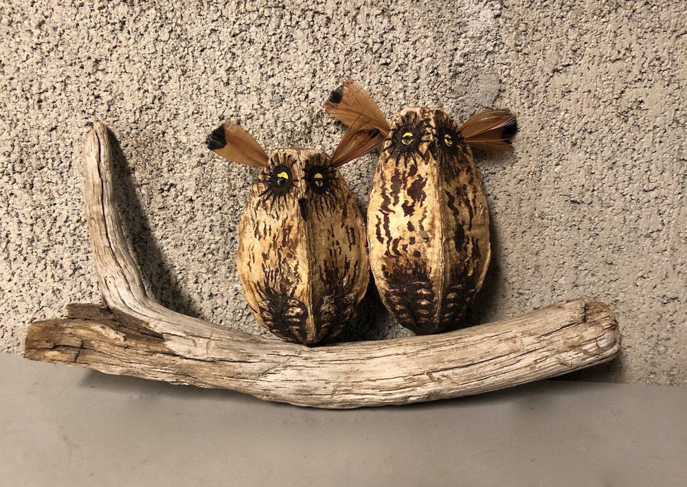 Owl Pair On Driftwood Wall Piece