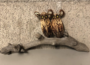 Owl Pair On Driftwood Wall Piece-Sculpture-Robert Rivera-Sorrel Sky Gallery