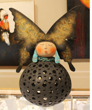 Robert Rivera-Sorrel Sky Gallery-Sculpture-Small Butterfly Maiden Night Light