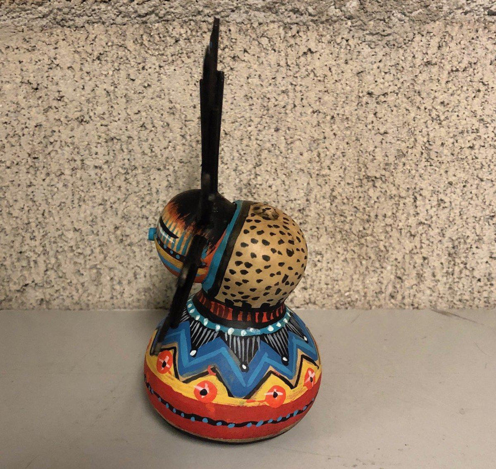 Small Gourd Kachina With Feathers-Sculpture-Robert Rivera-Sorrel Sky Gallery
