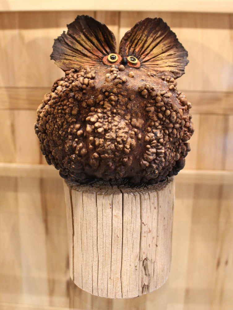 Robert Rivera-Sorrel Sky Gallery-Sculpture-Warty Gourd Owl On Stand