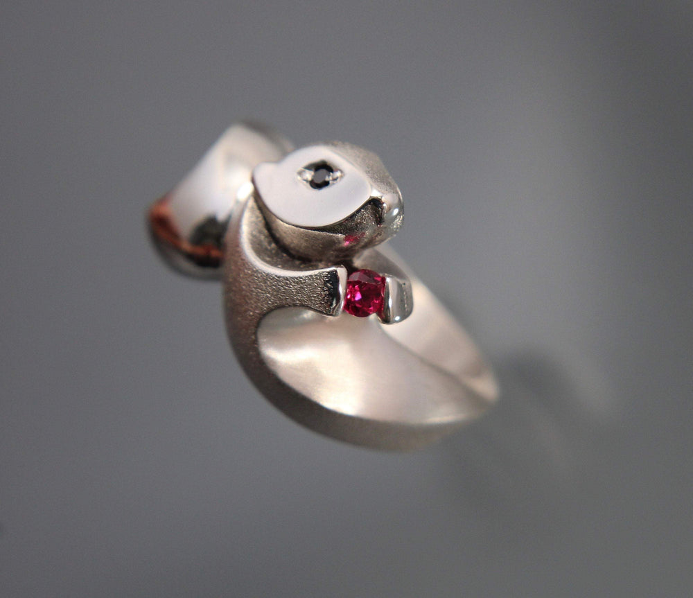 Sea Otter Ring - Silver with Gemstones
