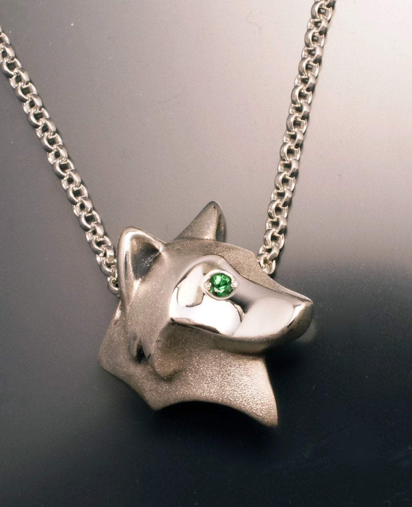 Shaggy Wolf Pendant - Silver with Gemstone Eyes