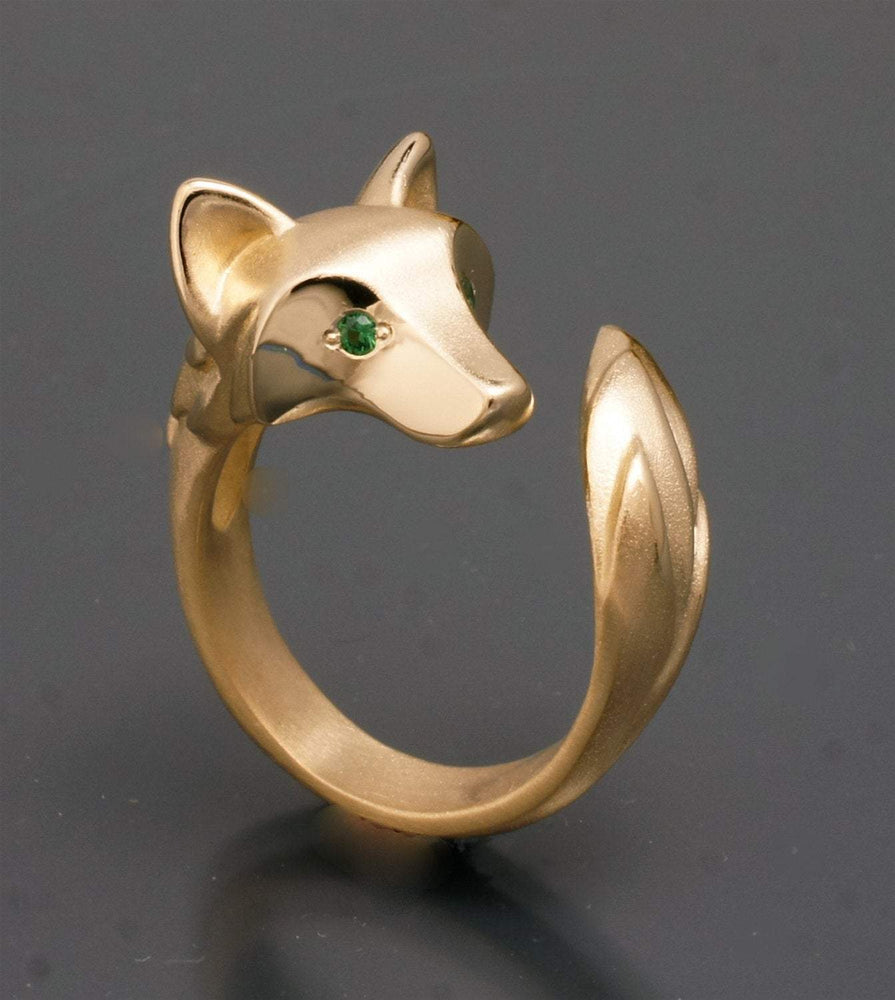 Shaggy Wolf Ring - Bronze with Gemstone Eyes