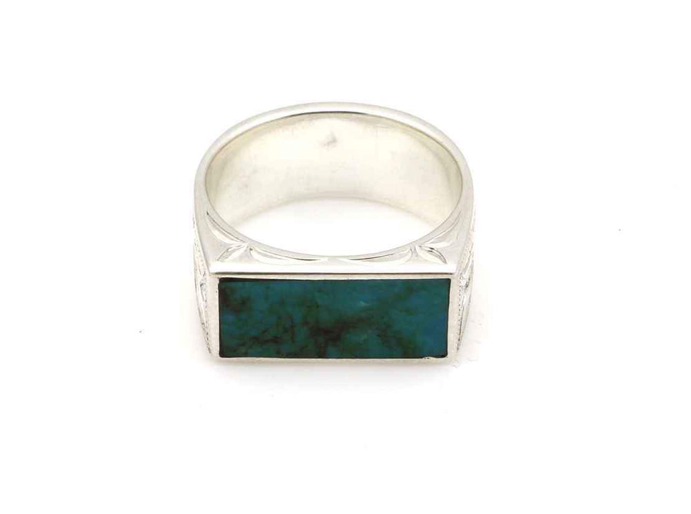 Blue Gem Turquoise Engraved Ring