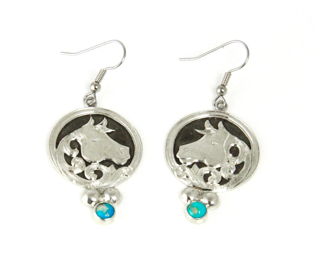 Cameo Horsehead Turquoise Earrings
