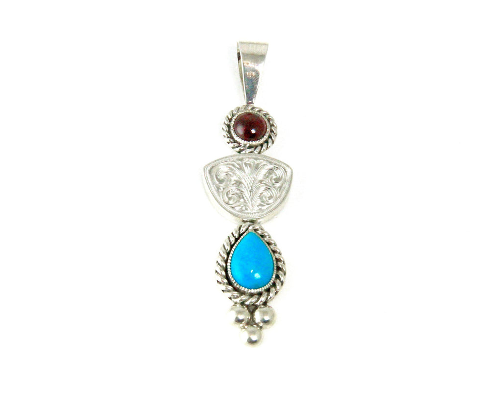 Carved Garnet and Turquoise Pendant