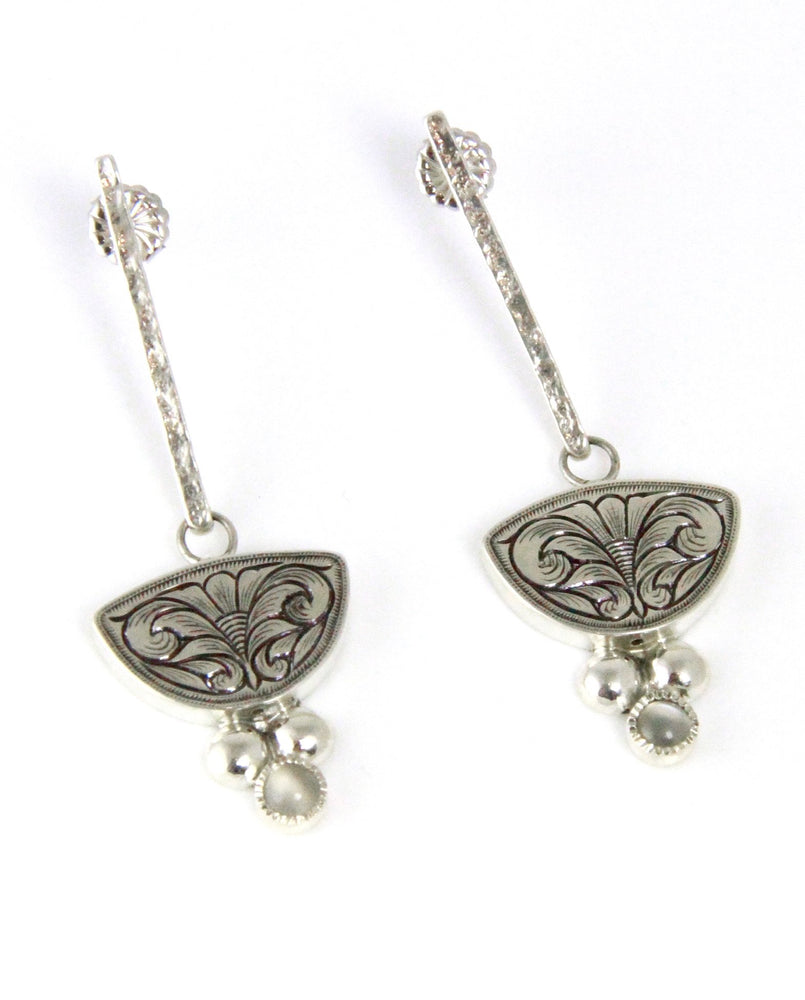 Dangle Flourish Moonstone Earrings