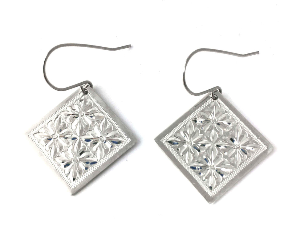 Engraved Silver Square Earrings