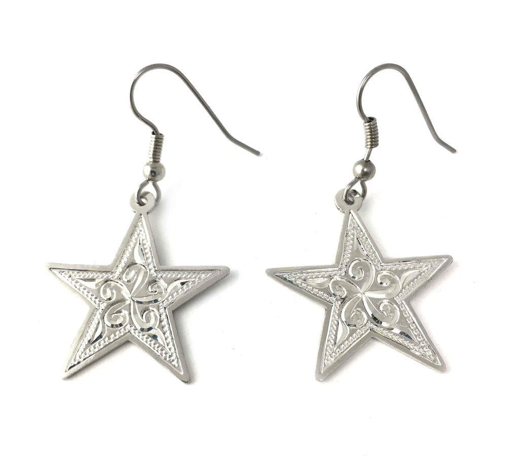 Engraved Silver Star Earrings