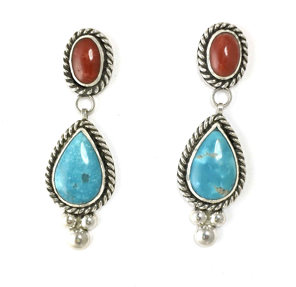 Kingman Turquoise and Coral Earrings