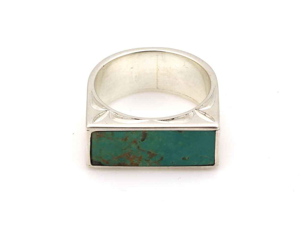 Kingman Turquoise Engraved Ring