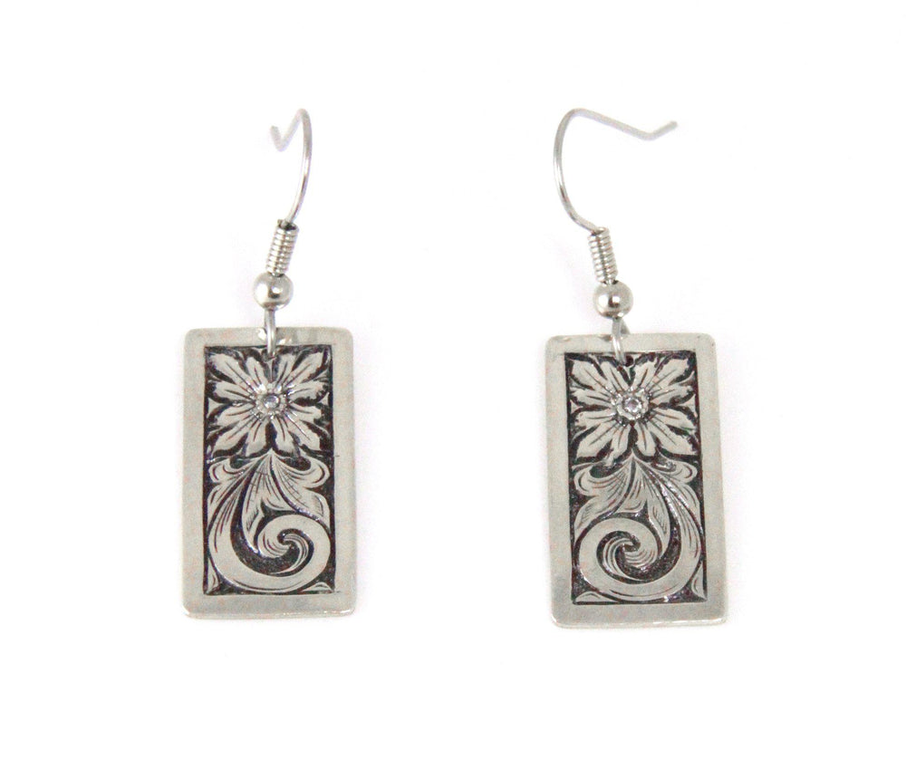 Rectangular Oxidized Flower Earrings