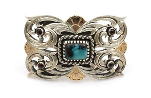 Sterling Silver and Turquoise Handmade Belt Buckle by Shane Hendren at Sorrel Sky Gallery