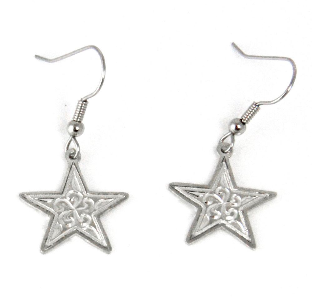 Star Carved Earrings