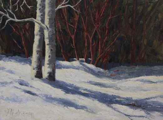Sharon Abshagen-Sorrel Sky Gallery-Painting-Winter Blues In The Garden