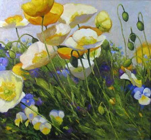 Shirley Novak-Sorrel Sky Gallery-Painting-Poppies And Pansies
