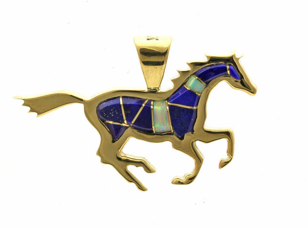 18K yellow gold horse pendant with lapis and opal inlay on gold chain