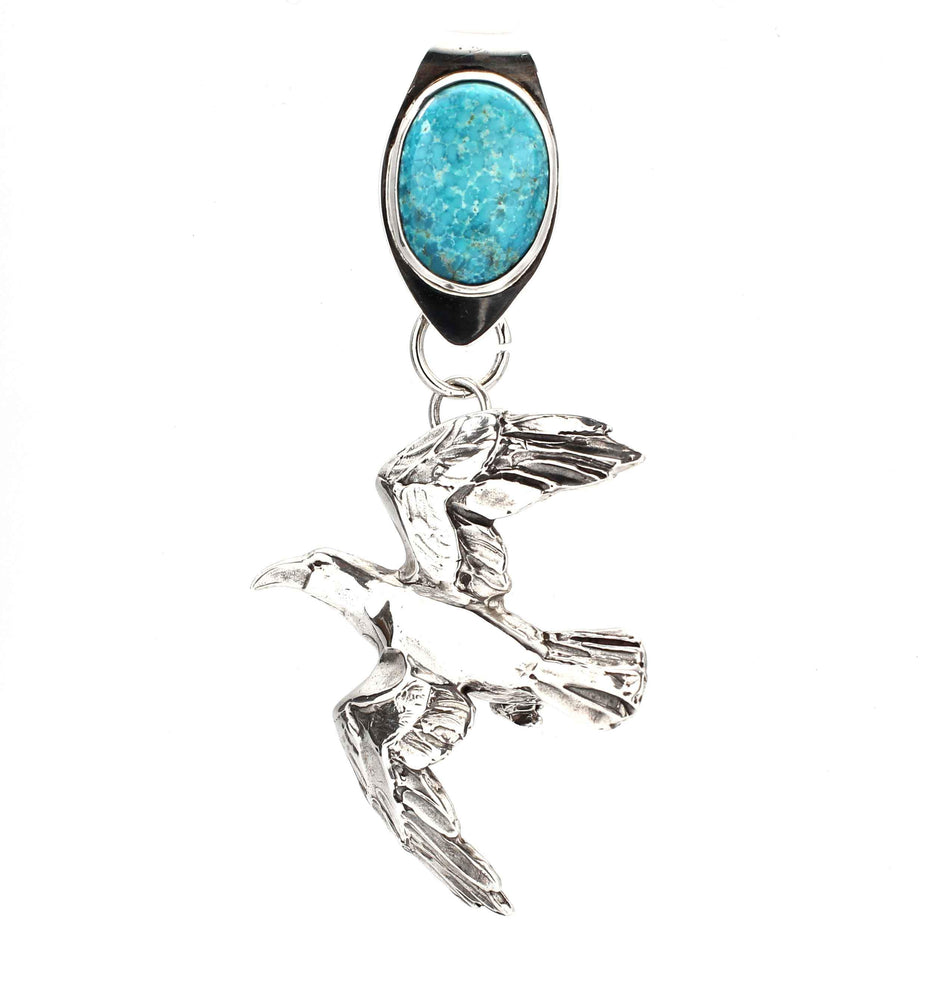 Raven With Turquoise Bale Pendant