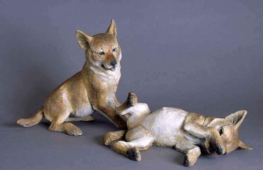 Star Liana York-Coyote Pup Lying Down-Sorrel Sky Gallery-Sculpture
