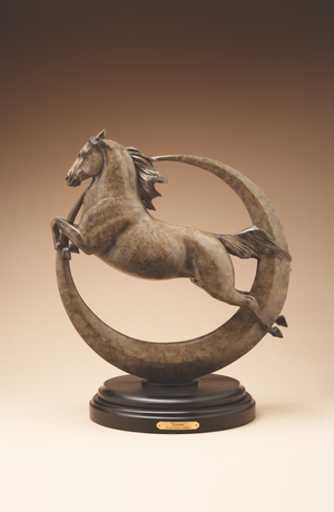 Bronze sculpture of a leaping horse and moon eclipse