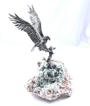Star Liana York-Falcon On Branch On Green Crystal-Sorrel Sky Gallery-Sculpture