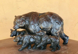 Marching Orders (Three Cubs)-Sculpture-Star Liana York-Sorrel Sky Gallery