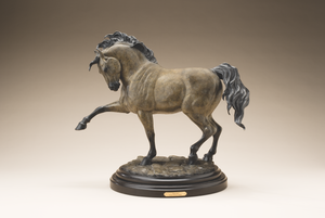 Saluting horse sculpture with wooden base