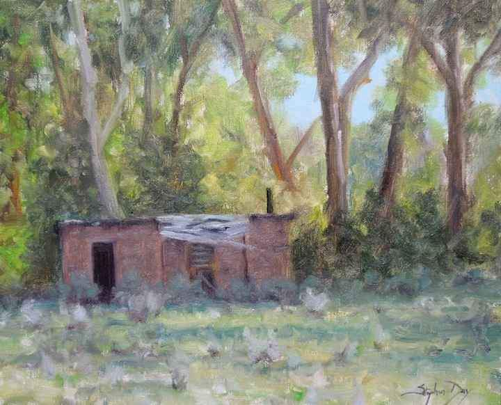 Stephen Day-Adobe In The Cottonwoods-Sorrel Sky Gallery-Painting