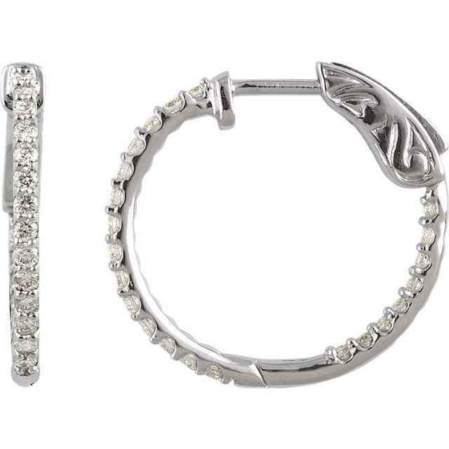 1/2 Ctw Diamond Inside/Outside Hoop Earrings