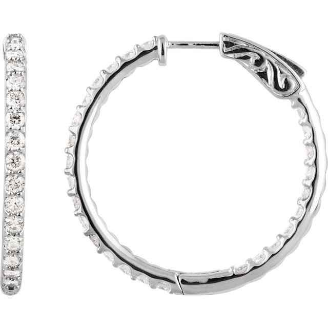 1ctw Diamond Inside/Outside Hoop Earrings
