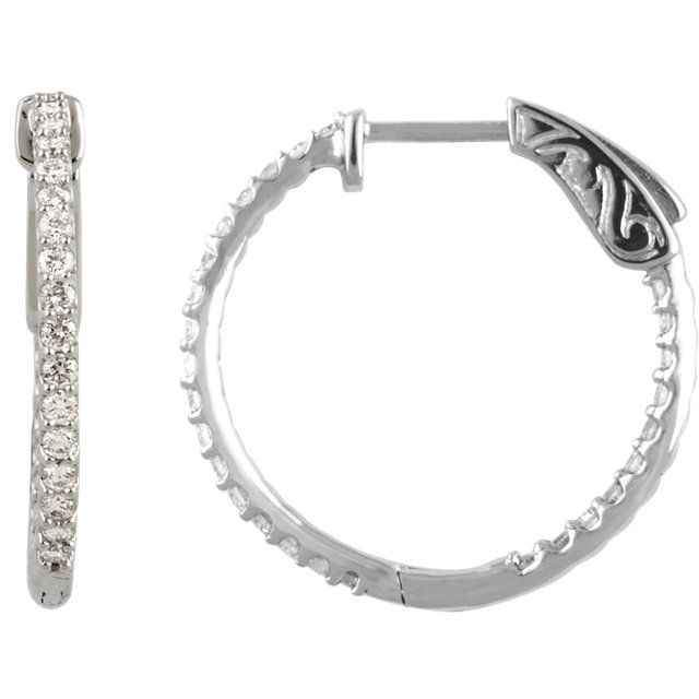 3/4ctw Diamond Inside/Outside Hoop Earrings