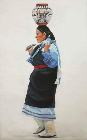 A Painting of a Native American Woman with a pot on her head.  White background and a blue dress by Tamara Rymer.