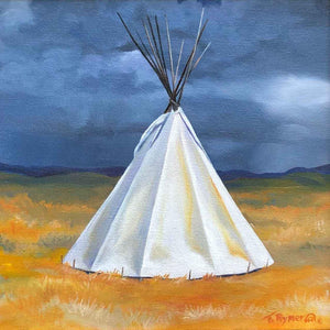 White teepee painting on a golden field with a dark sky. Tamara Rymer Painting at Sorrel Sky Gallery.