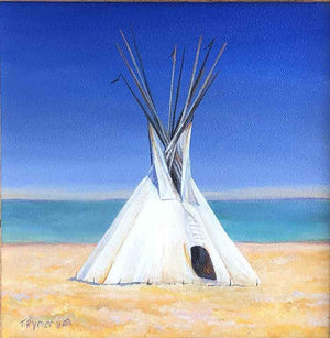 painting of a white teepee on a golden field with a blue lake in the background. Original Oil Painting by Tamara Rymer. Sorrel Sky Gallery