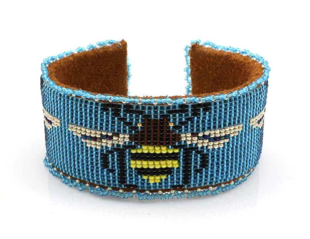 Bees On Blue Beaded Cuff Bracelet-Jewelry-Teri Greeves-Sorrel Sky Gallery