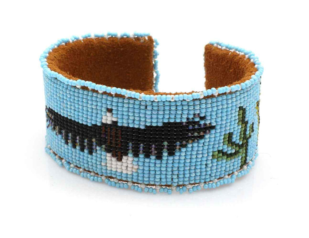 Eagle On Sky Beaded Cuff Bracelet