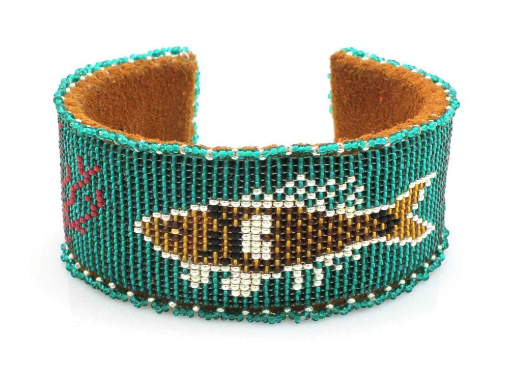 Fish On Teal Beaded Cuff Bracelet