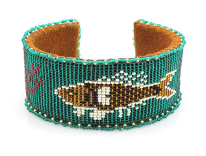 Fish On Teal Beaded Cuff Bracelet-Jewelry-Teri Greeves-Sorrel Sky Gallery