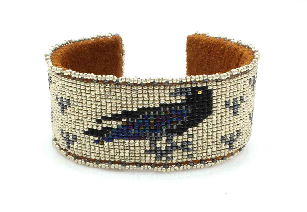 Raven On Silver Beaded Cuff Bracelet-Jewelry-Teri Greeves-Sorrel Sky Gallery