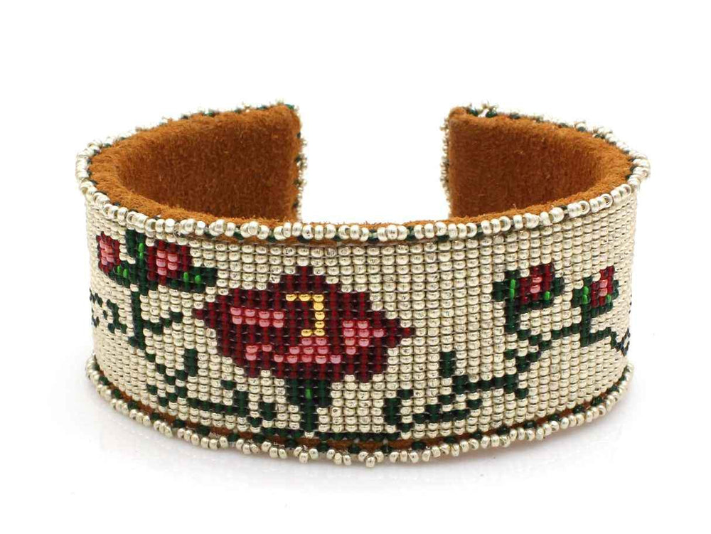 Roses On Silver Beaded Cuff Bracelet-Jewelry-Teri Greeves-Sorrel Sky Gallery