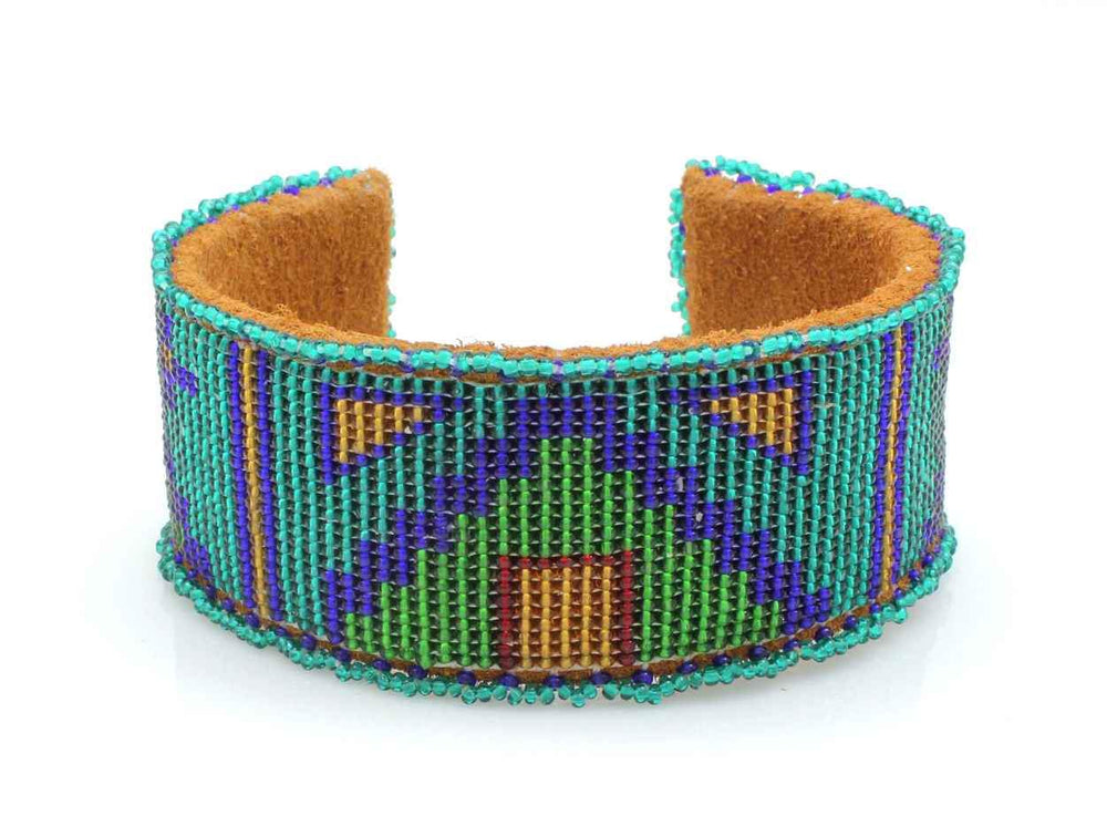 Tipis On Teal Beaded Cuff Bracelet