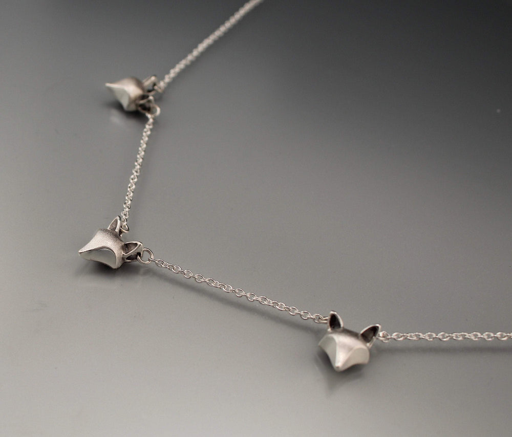 Three Fox Necklace - Silver