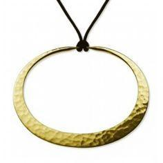 18K Gold Eclipse Hoop Pendant