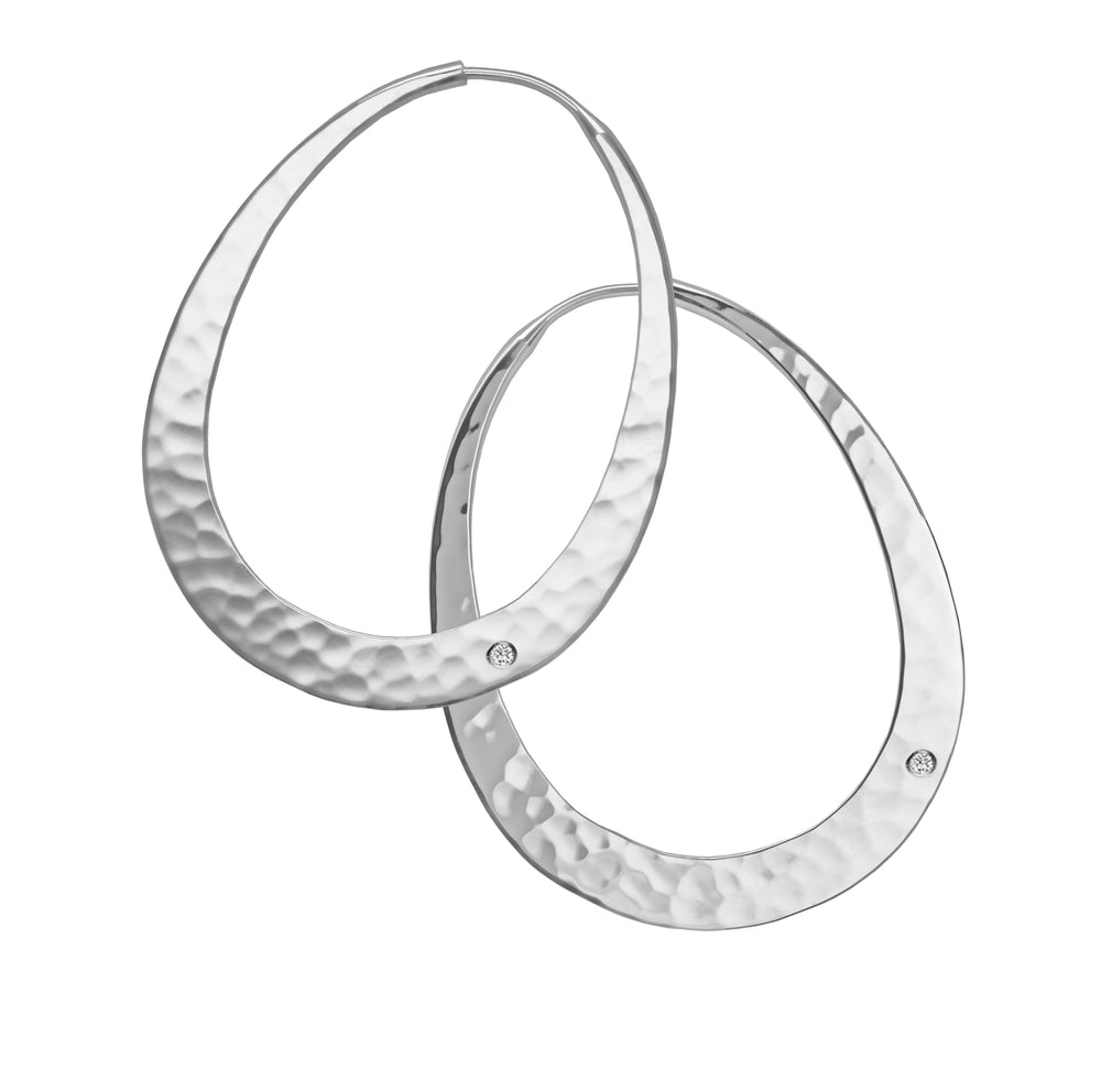Silver Oval Venus Hoop Earrings-Jewelry-Toby Pomeroy-Sorrel Sky Gallery