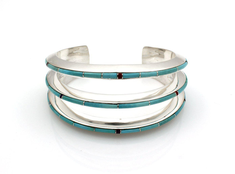 Sterling silver multi-stone inlay cuff bracelet